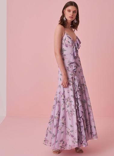 morhipo x dcey Sırtı Çapraz Bağcıklı Çiçek Desenli Elbise Lila